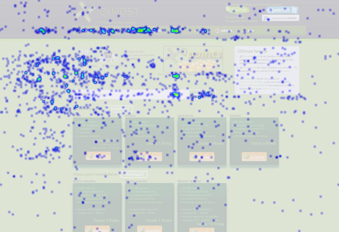 Mapa de calor de clicks Quijost